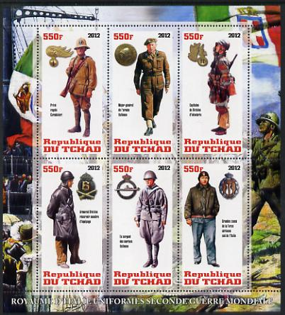 Chad 2012 Uniforms of the Second World War - Italy perf sheetlet containing 6 values unmounted mint