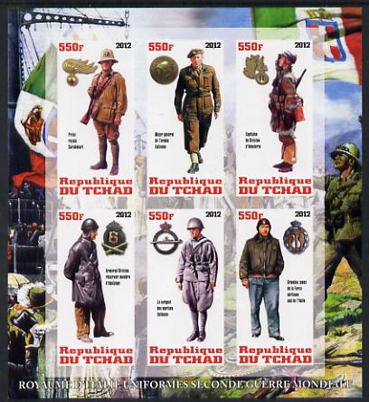 Chad 2012 Uniforms of the Second World War - Italy imperf sheetlet containing 6 values unmounted mint