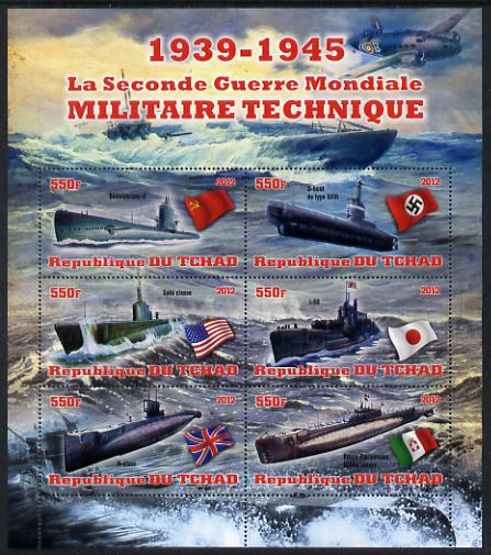 Chad 2012 Military Strength of the Second World War - Submarines perf sheetlet containing 6 values unmounted mint