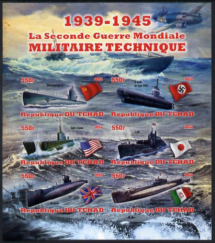 Chad 2012 Military Strength of the Second World War - Submarines imperf sheetlet containing 6 values unmounted mint