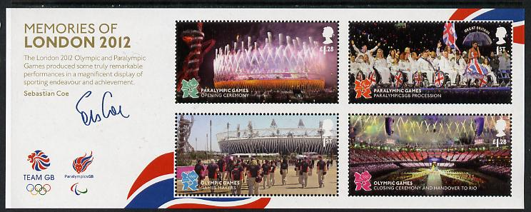 Great Britain 2012 Memories of London Olympic & Paralympic Games perf m/sheet unmounted mint