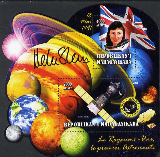 Madagascar 2012 First Astronauts in Space - Helen Sharman (UK) perf sheetlet containing 2 values unmounted mint