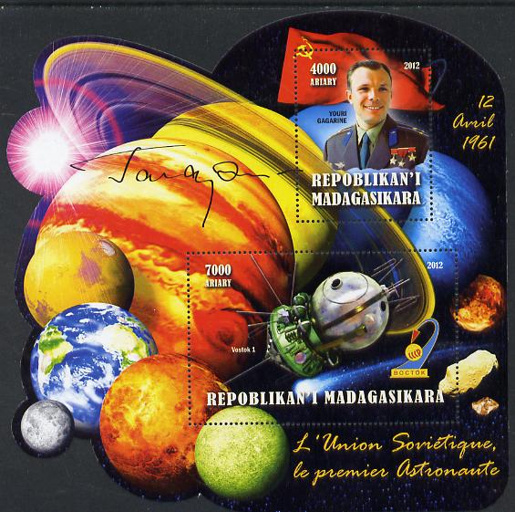Madagascar 2012 First Astronauts in Space - Yuro Gagarin (USSR) perf sheetlet containing 2 values unmounted mint