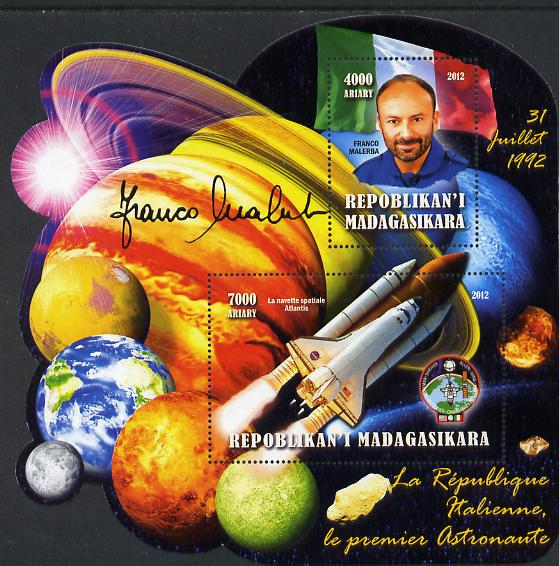 Madagascar 2012 First Astronauts in Space - Franco Malerba (Italy) perf sheetlet containing 2 values unmounted mint