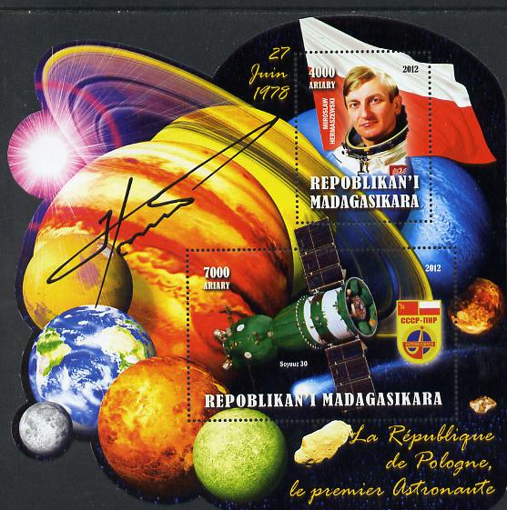 Madagascar 2012 First Astronauts in Space - Miroslaw Hermaszewski (Poland) perf sheetlet containing 2 values unmounted mint