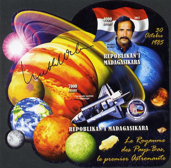 Madagascar 2012 First Astronauts in Space - Wubbo Ockels (Netherlands) imperf sheetlet containing 2 values unmounted mint