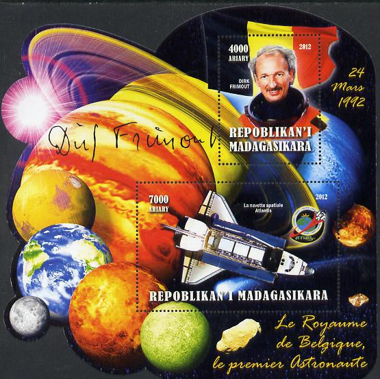 Madagascar 2012 First Astronauts in Space - Dirk Frimout (Belgium) perf sheetlet containing 2 values unmounted mint