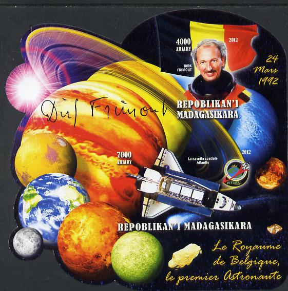 Madagascar 2012 First Astronauts in Space - Dirk Frimout (Belgium) imperf sheetlet containing 2 values unmounted mint