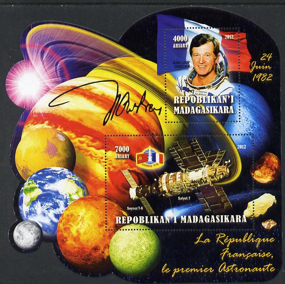 Madagascar 2012 First Astronauts in Space - Jean-Loup Chretien (France) perf sheetlet containing 2 values unmounted mint