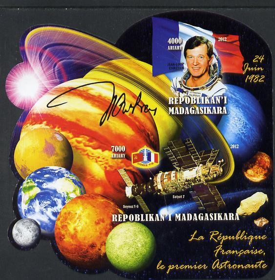 Madagascar 2012 First Astronauts in Space - Jean-Loup Chretien (France) imperf sheetlet containing 2 values unmounted mint