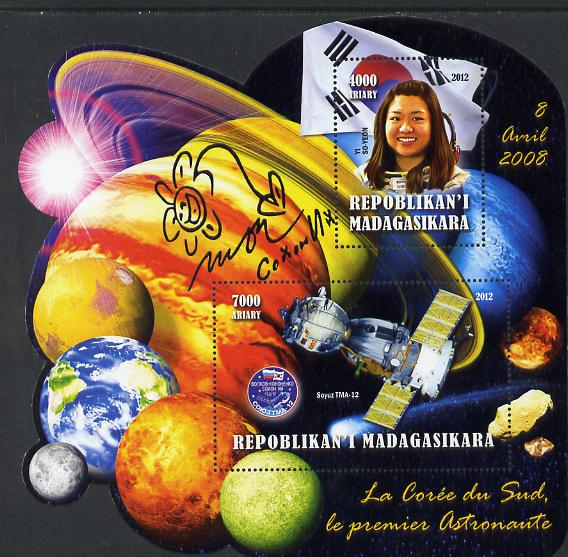 Madagascar 2012 First Astronauts in Space - Yi So-Yeon (Korea) perf sheetlet containing 2 values unmounted mint