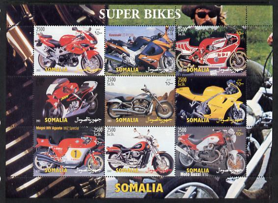 Somalia 2003 Super Bikes perf sheetlet containing 9 values unmounted mint. Note this item is privately produced and is offered purely on its thematic appeal