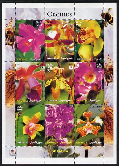Somalia 2003 Orchids perf sheetlet containing 9 values (with Bee & Phila Korea imprint in border) unmounted mint. Note this item is privately produced and is offered purely on its thematic appeal