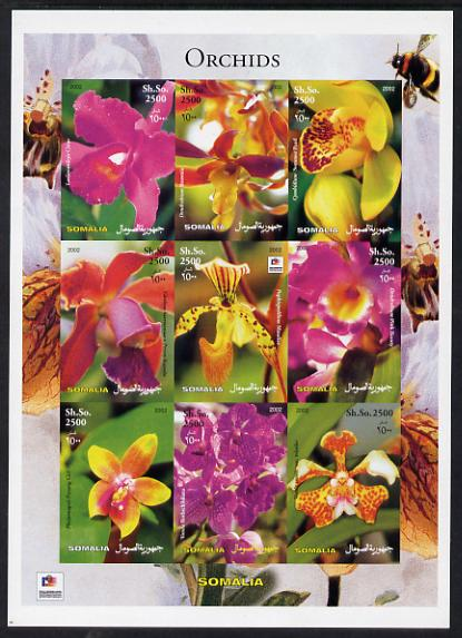 Somalia 2003 Orchids imperf sheetlet containing 9 values (with Bee & Phila Korea imprint in border) unmounted mint. Note this item is privately produced and is offered purely on its thematic appeal, it has no postal validity