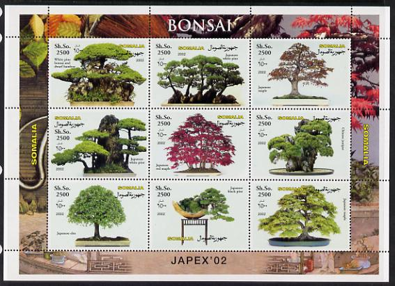 Somalia 2002 Japex '02 perf sheetlet containing 9 values (Bonsai) unmounted mint. Note this item is privately produced and is offered purely on its thematic appeal, it has no postal validity