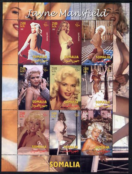 Somalia 2002 Jayne Mansfield perf sheetlet containing 9 values unmounted mint. Note this item is privately produced and is offered purely on its thematic appeal