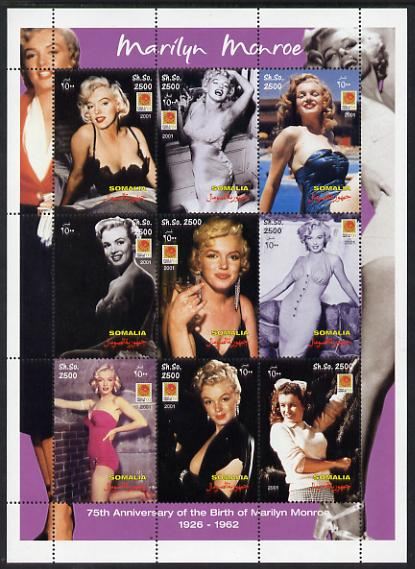 Somalia 2001 Marilyn Monroe perf sheetlet containing 9 values unmounted mint. Note this item is privately produced and is offered purely on its thematic appeal