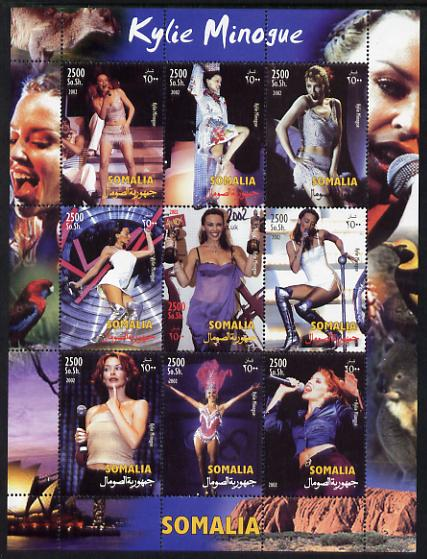 Somalia 2002 Kylie Minogue perf sheetlet containing 9 values unmounted mint. Note this item is privately produced and is offered purely on its thematic appeal