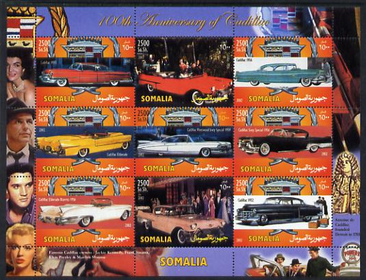 Somalia 2002 100th Anniversary of the Cadillac perf sheetlet containing 9 values unmounted mint. Note this item is privately produced and is offered purely on its thematic appeal (Marilyn, Elvis, Frank Sinatra & Jackie Kennedy in border)
