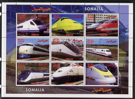 Somalia 1999 High Speed Trains perf sheetlet containing 9 values unmounted mint. Note this item is privately produced and is offered purely on its thematic appeal