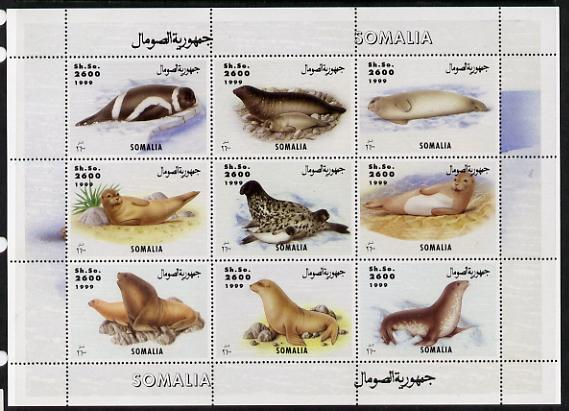 Somalia 1999 Seals perf sheetlet containing 9 values unmounted mint. Note this item is privately produced and is offered purely on its thematic appeal