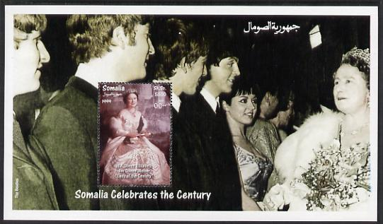 Somalia 1999 Lady of the Century (HM Queen Mother meeting the Beatles) perf sheetlet containing 1 value unmounted mint. Note this item is privately produced and is offered purely on its thematic appeal