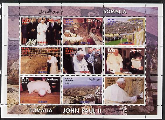 Somalia 2000 Pope John Paul II #2 (horiz designs) perf sheetlet containing 9 values unmounted mint. Note this item is privately produced and is offered purely on its thematic appeal