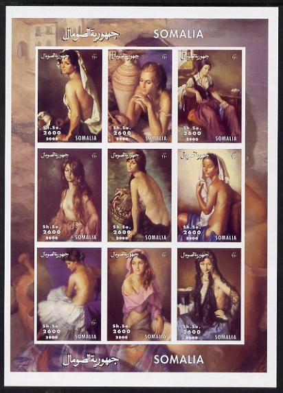 Somalia 2000 Nude Paintings imperf sheetlet containing 9 values unmounted mint. Note this item is privately produced and is offered purely on its thematic appeal, it has no postal validity