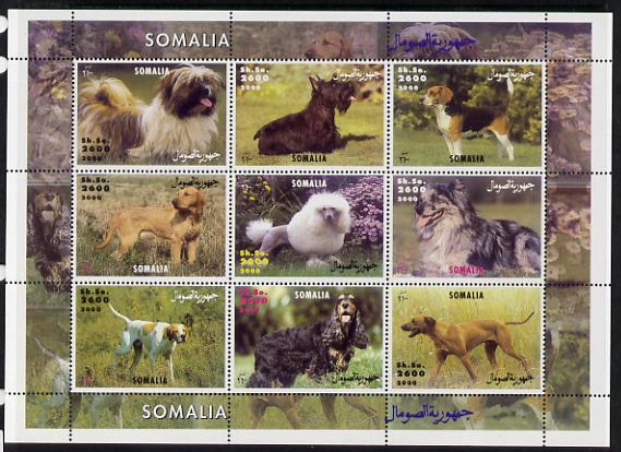 Somalia 2000 Dogs perf sheetlet containing 9 values unmounted mint. Note this item is privately produced and is offered purely on its thematic appeal