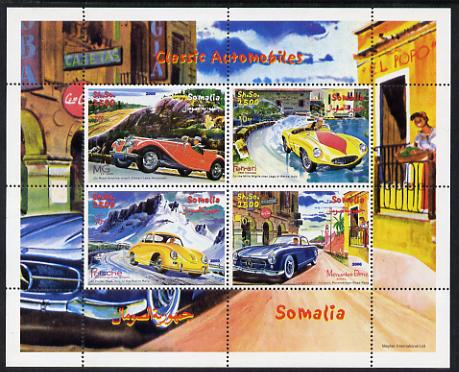 Somalia 2000 Classic Automobiles perf sheetlet containing 4 values unmounted mint. Note this item is privately produced and is offered purely on its thematic appeal
