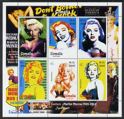 Somalia 2000 Actress of the Century - Marilyn Monroe perf sheetlet containing 6 values unmounted mint. Note this item is privately produced and is offered purely on its thematic appeal
