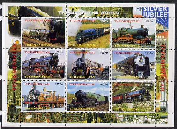 Turkmenistan 1999 Steam Locos perf sheetlet containing 9 values unmounted mint. Note this item is privately produced and is offered purely on its thematic appeal