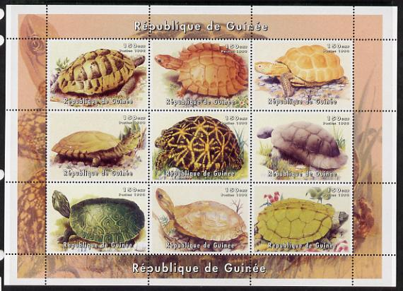 Guinea - Bissau 1999 Turtles perf sheetlet containing 9 values unmounted mint. Note this item is privately produced and is offered purely on its thematic appeal