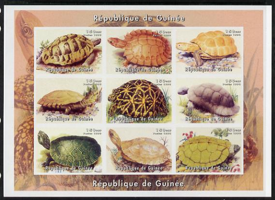 Guinea - Bissau 1999 Turtles imperf sheetlet containing 9 values unmounted mint , stamps on animals, stamps on reptiles, stamps on turtles