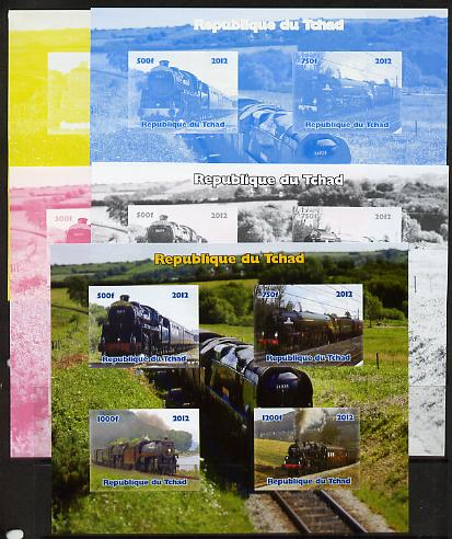 Chad 2012 Steam Locomotives sheetlet containing 4 values - the set of 5 imperf progressive proofs comprising the 4 individual colours plus all 4-colour composite, unmounted mint