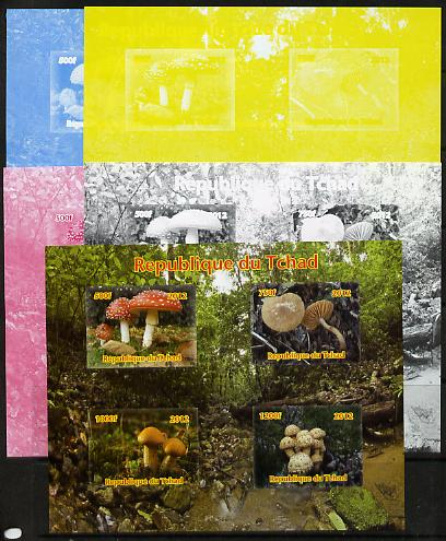 Chad 2012 Fungi sheetlet containing 4 values - the set of 5 imperf progressive proofs comprising the 4 individual colours plus all 4-colour composite, unmounted mint