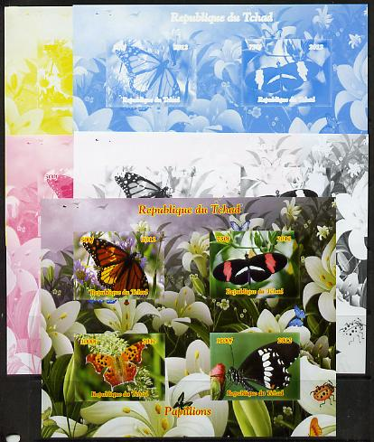 Chad 2012 Butterflies #1 sheetlet containing 4 values - the set of 5 imperf progressive proofs comprising the 4 individual colours plus all 4-colour composite, unmounted mint