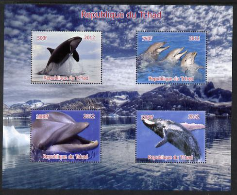Chad 2012 Whales & Dolphins perf sheetlet containing 4 values unmounted mint. Note this item is privately produced and is offered purely on its thematic appeal.