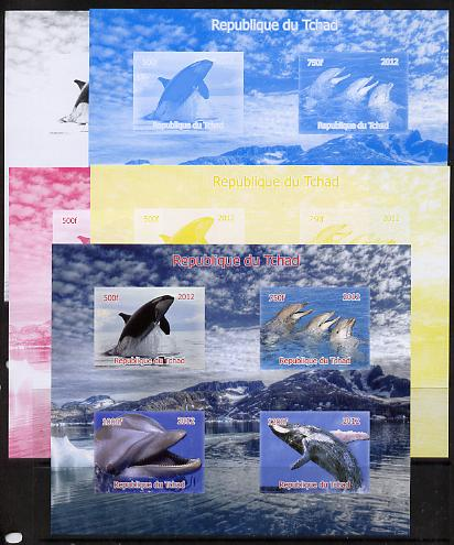 Chad 2012 Whales & Dolphins sheetlet containing 4 values - the set of 5 imperf progressive proofs comprising the 4 individual colours plus all 4-colour composite, unmounted mint