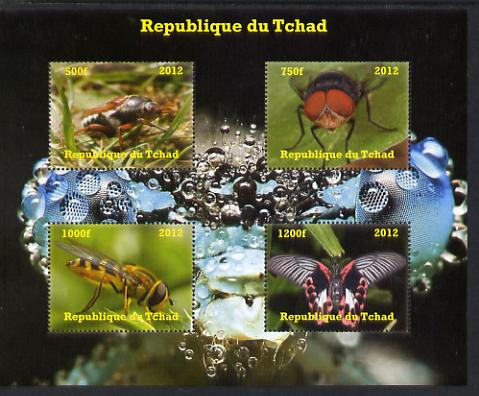 Chad 2012 Insects perf sheetlet containing 4 values unmounted mint. Note this item is privately produced and is offered purely on its thematic appeal.