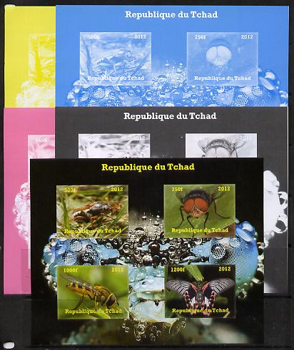 Chad 2012 Insects sheetlet containing 4 values - the set of 5 imperf progressive proofs comprising the 4 individual colours plus all 4-colour composite, unmounted mint