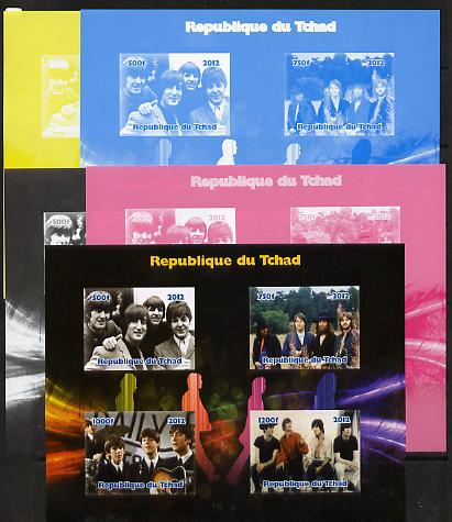 Chad 2012 The Beatles #2 sheetlet containing 4 values - the set of 5 imperf progressive proofs comprising the 4 individual colours plus all 4-colour composite, unmounted mint
