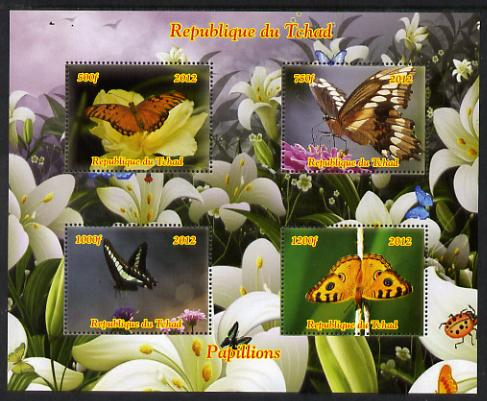 Chad 2012 Butterflies #2 perf sheetlet containing 4 values unmounted mint. Note this item is privately produced and is offered purely on its thematic appeal.