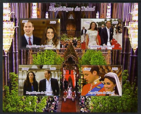 Chad 2012 Royal Wedding - William & Kate #1 perf sheetlet containing 4 values unmounted mint