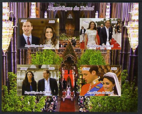Chad 2012 Royal Wedding - William & Kate #1 imperf sheetlet containing 4 values unmounted mint. Note this item is privately produced and is offered purely on its thematic appeal.