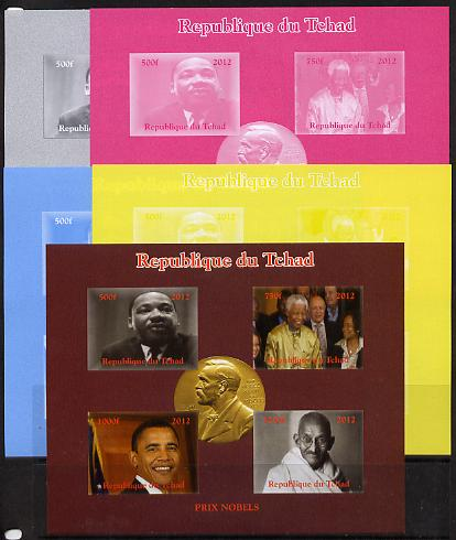 Chad 2012 Nobel Peace Prize Winners/Nominees sheetlet containing 4 values - the set of 5 imperf progressive proofs comprising the 4 individual colours plus all 4-colour composite, unmounted mint