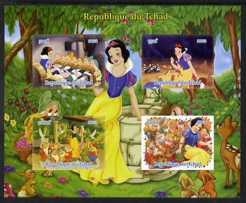 Chad 2012 Disney's Snow White & the Seven Dwarfs imperf sheetlet containing 4 values unmounted mint. Note this item is privately produced and is offered purely on its thematic appeal.