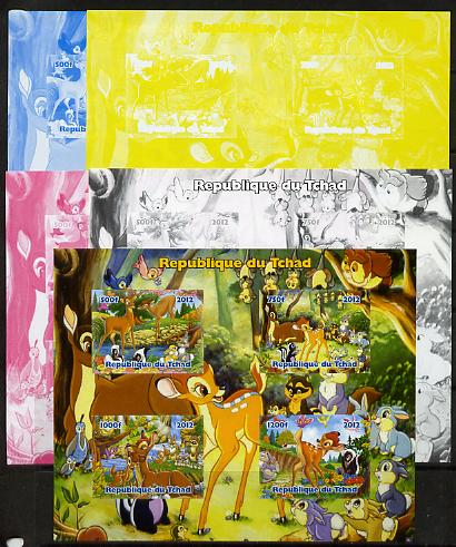 Chad 2012 Disney's Bambi sheetlet containing 4 values - the set of 5 imperf progressive proofs comprising the 4 individual colours plus all 4-colour composite, unmounted mint
