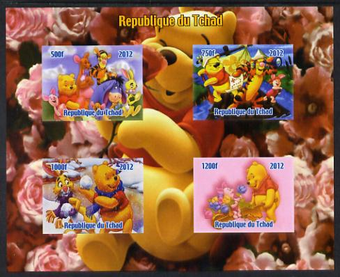 Chad 2012 Disney's Winnie the Pooh imperf sheetlet containing 4 values unmounted mint. Note this item is privately produced and is offered purely on its thematic appeal. , stamps on disney, stamps on films, stamps on movies, stamps on cinema, stamps on cartoons, stamps on fairy tales, stamps on bears