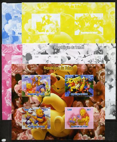 Chad 2012 Disney's Winnie the Pooh sheetlet containing 4 values - the set of 5 imperf progressive proofs comprising the 4 individual colours plus all 4-colour composite, unmounted mint